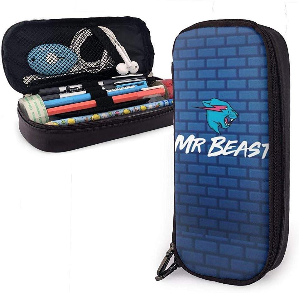 Beast Blue Wall - Estuche de cuero de gran capacidad, bolsa de almacenamiento multifunción con cremallera, papelería para estudiantes, regalo de oficina: Amazon.es: Oficina y papelería
