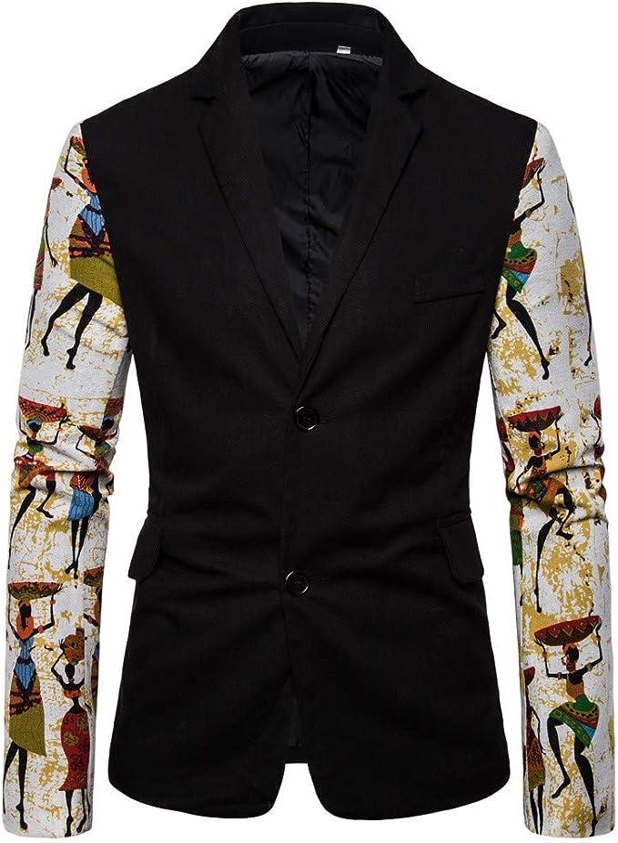 Tosonse Blazer Hombre Casual Vintage Vestido Estampado Étnico ...
