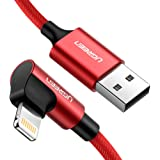 UGREEN Charger Cable for iPhone 3FT 90 Degree Angle Lightning to USB A Nylon Braided Charging Cable [MFi Certified] Compatible for iPhone 11 Pro Max XR X Xs Max 8 7 Plus 6S 6 5 iPad Red