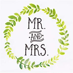 Betop House Mr and Mrs Garland Cocktail Party Beverage Dessert 3-Ply Paper Napkins for Wedding Shower Engagement Anniversary Party Table Decorations, 120-Count