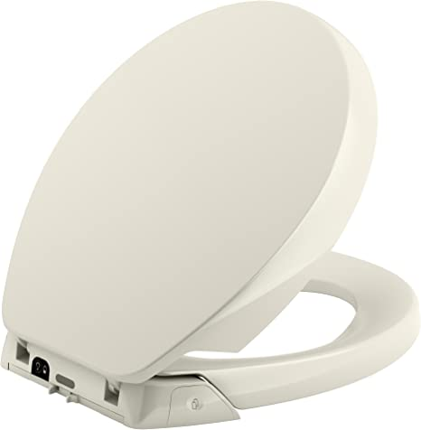 Biscuit KOHLER K-5589-96 Purefresh Quiet-Close with Grip-Tight Bumpers Round-Front Toilet Seat