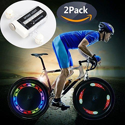 QANGEL Bike Wheel Lights, Waterproof Bike Spoke Lights Ultra Bright 14 LED Bicycle Wheel Lights,Safety Cool RGB Bike Tire Light for Kids Adults, 30 Patterns Changes, Auto & Manual Dual Switch (2 Pack) by QANGEL