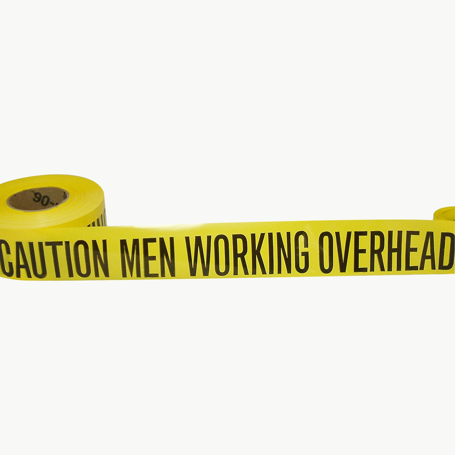 JVCC BR-1 Barricade Tape: 3 in. x 1000 ft. (Yellow with Black ''CAUTION MEN WORKING OVERHEAD'' printing)