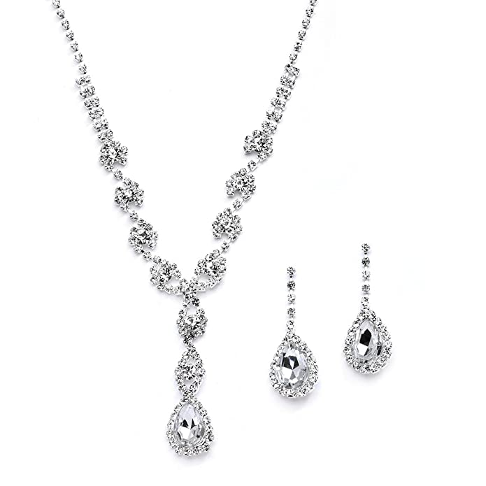 29ce16a8c Amazon.com: Mariell Sparkling Clear Rhinestone Necklace and Earrings Set  for Proms, Bridesmaid's Gifts and Weddings: Jewelry
