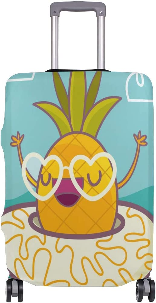FOLPPLY Funny Pineapple With Lifebuoy Luggage Cover Baggage Suitcase Travel Protector Fit for 18-32 Inch