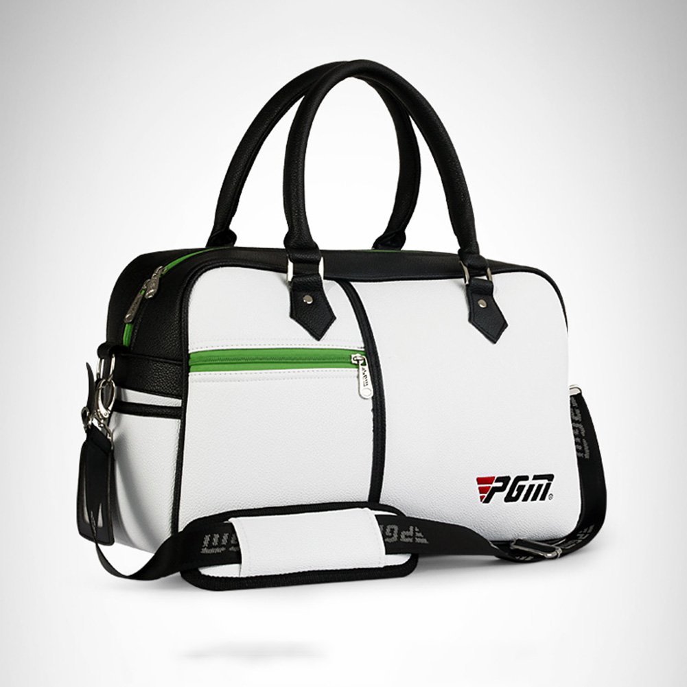 PGM PU Golf Duffle Bag Golf Clothing Bag,Boston Bag---with Seperate Shoes Store bag (white)