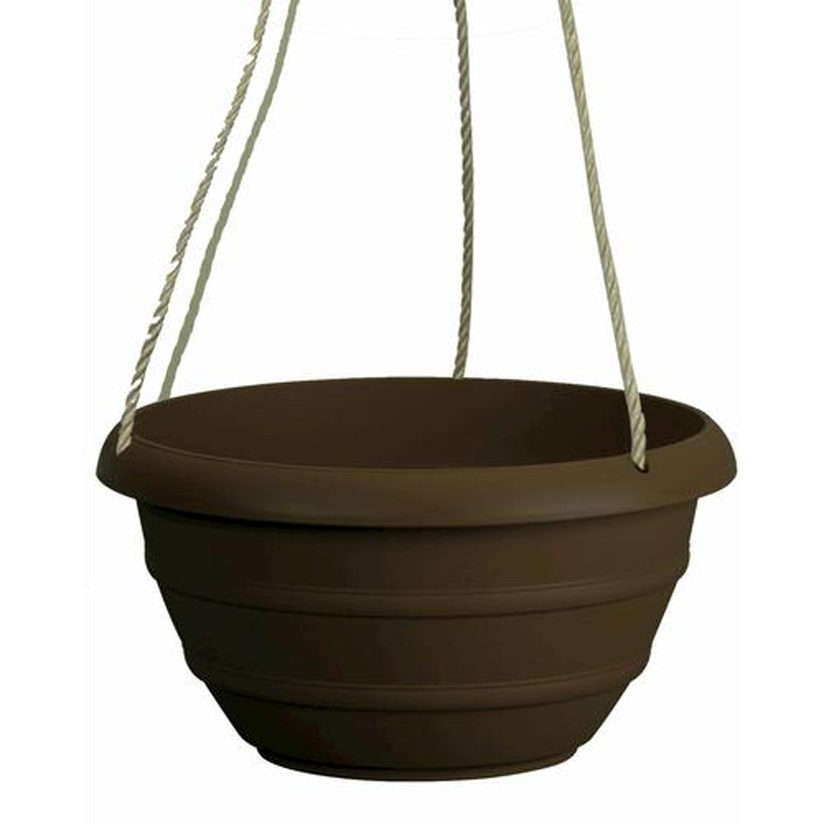 Marina Hanging Basket Resin Planter - Weather Proof Lightweight - 12'' H x 12'' W x 7'' D (Brown)