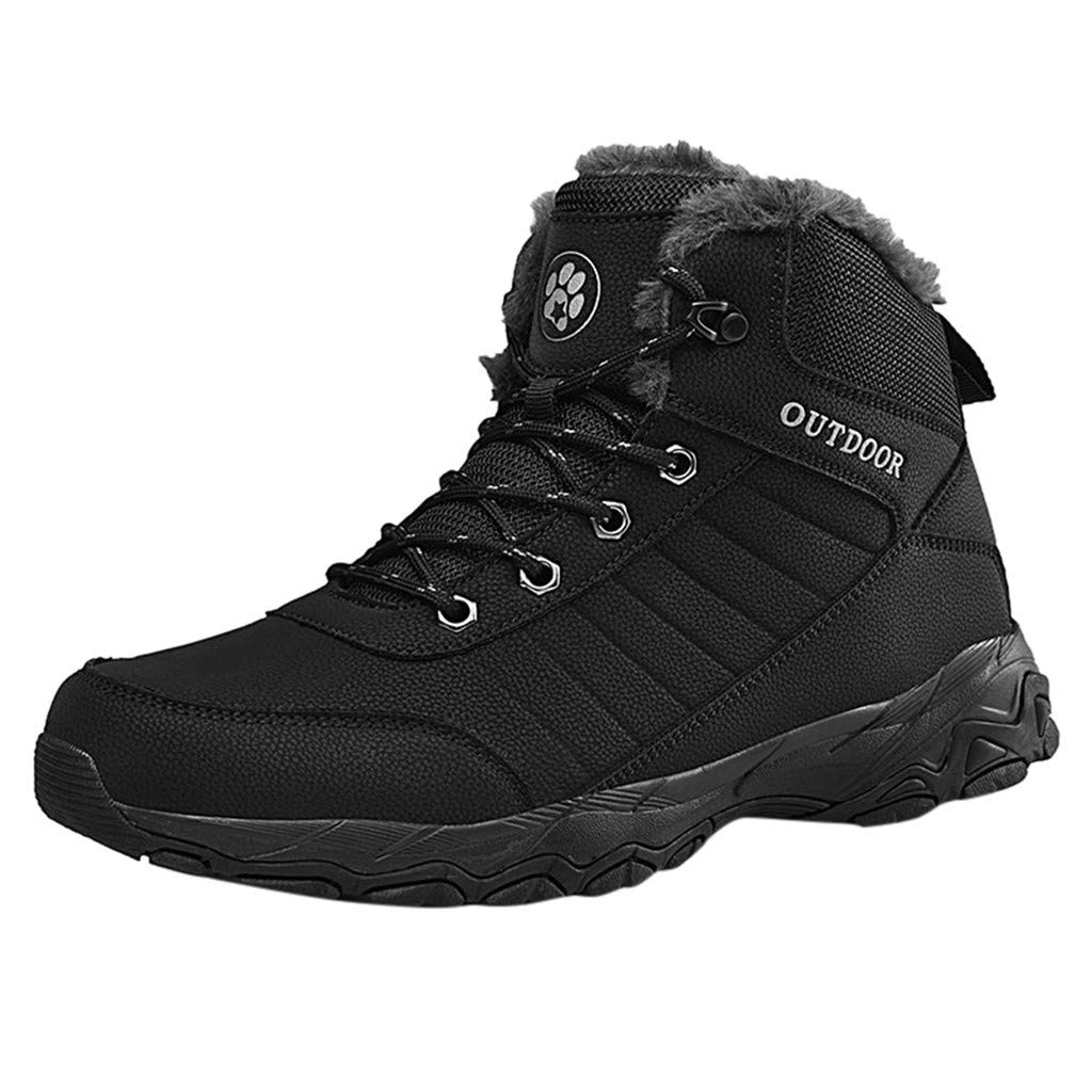 Gleamfut Large Size Mens Winter Warm Hiking Boots Mountaineering Sport Non-Slip Lacing Snow Boots by Gleamfut
