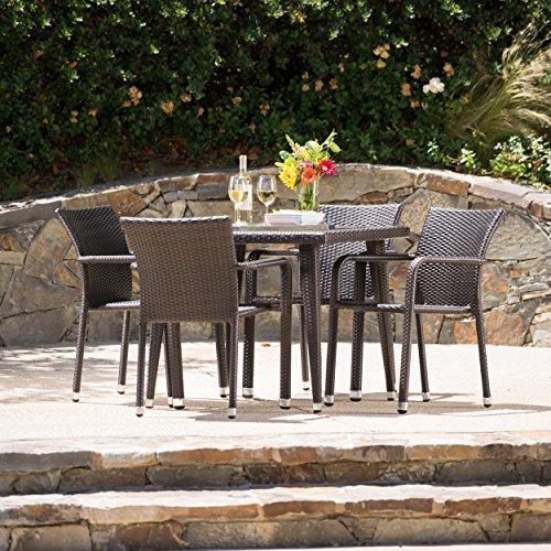Rosalie Outdoor Aluminum Framed Wicker 5 Piece Dining Set (Multi-brown)