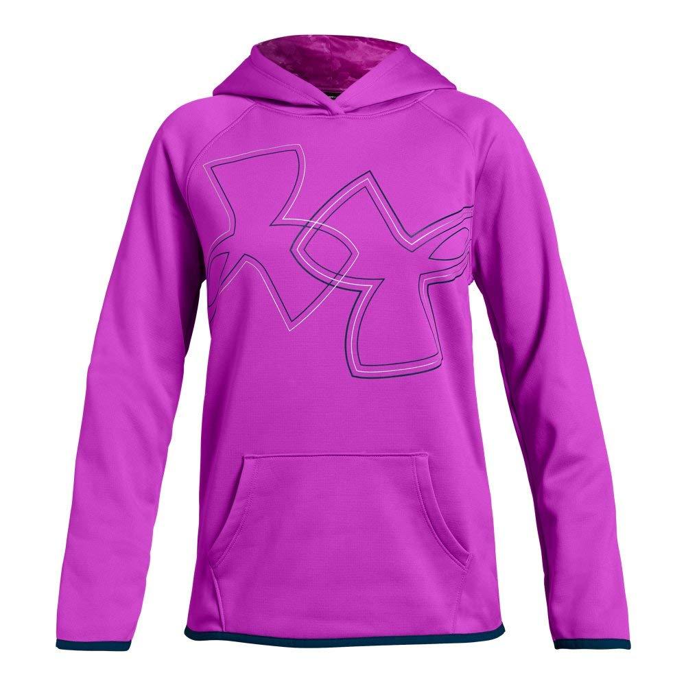 Under Armour Girls Armour Fleece Dual Logo Hoodie, Fluo Fuchsia (565)/Techno Teal, Youth X-Small