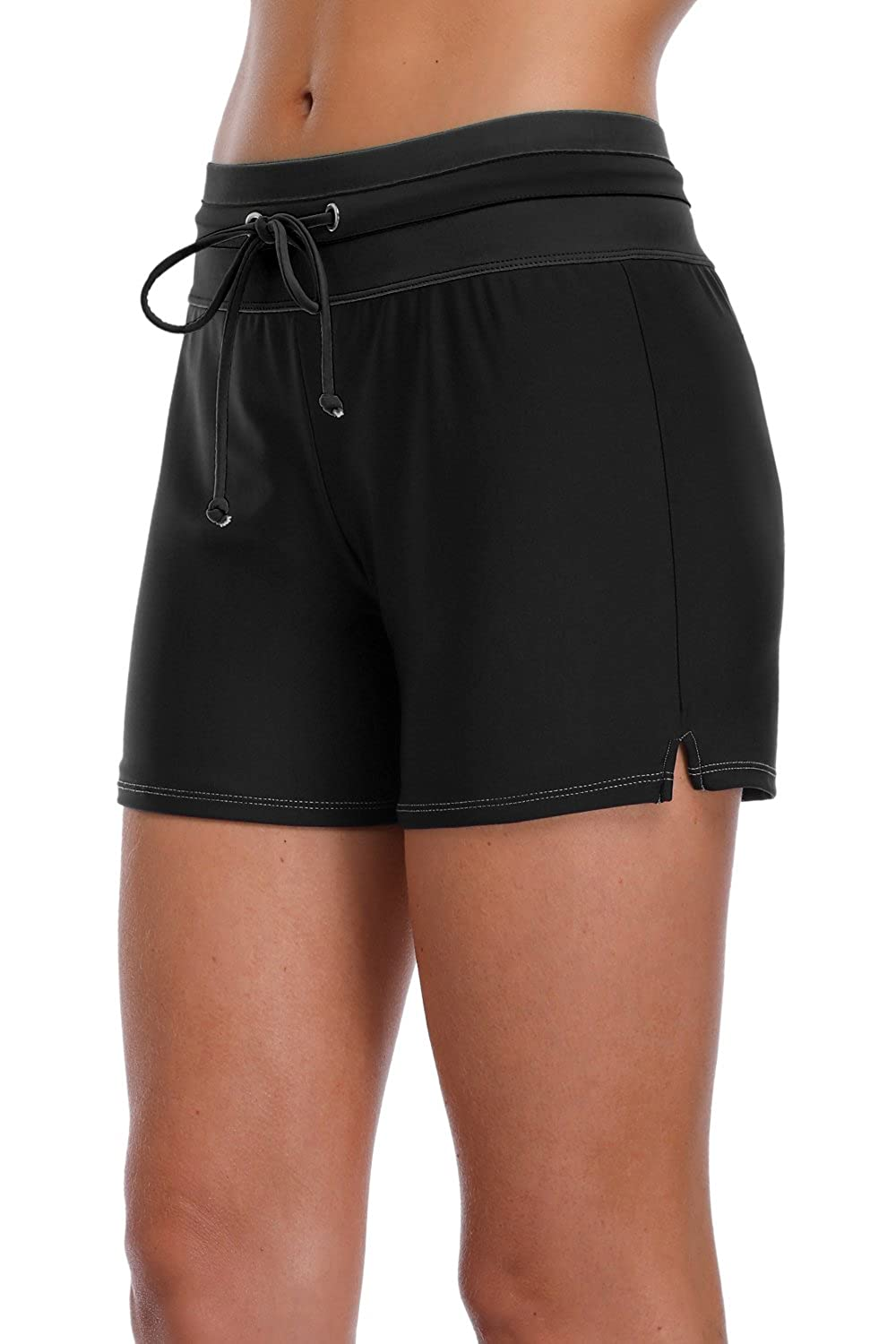 2a2278a5f0 Wide elastic waistband, front tie drawstring, back pocket, front lined.  High waisted swim bottoms give slight tummy control, also don\'t ride up.