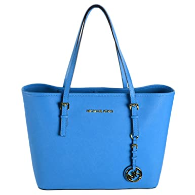 9d26831acd356 Michael Kors Jet Set Small Saffiano Travel Tote (Summer Blue). Roll over  image to zoom in