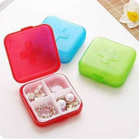 MYLL - Estuche Organizador para Pastillas, para Viajes, 4 Compartimentos, Caja vacía de Almacenamiento de medicamentos, cápsulas y clasificador de medicamentos, Polipropileno, Rojo, 6 * 6 * 2cm: Amazon.es: Hogar