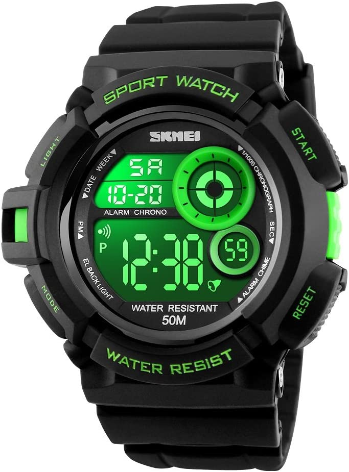 Mens LED Digital Sport Watch Waterproof 50M Outdoor Military Simple Design Plastic Watch with Rubber Strap Multicolor Back Light Multifunction Electronic Display Alarm Stopwatch Calendar 12H 24H Time