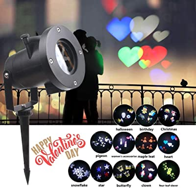 Christmas Holiday Celebration Lights-12 Pattern Waterproof Outdoor Star Projector Light Party Festival Birthday Surprise Wall Motion Decoration: Home Improvement