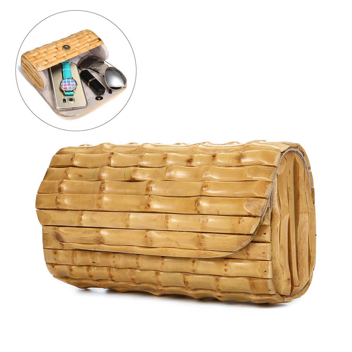 Women Straw Clutch, JOSEKO Handmade Bamboo Handbag Summer Beach Purse for Ladies