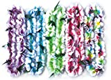 PARTYMASTER Hawaiian Plumeria Flower Leis Necklaces for Party Event,6 Pcs