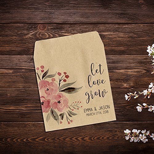 Personalized Wedding Favor Wildflower Seed Packets, Wedding Seed Packets, Seed Packet Favor, Custom Seed Packets, Seed Packets, Pink Favor, Kraft Favor, Wedding Favors, Let Love Grow x ()