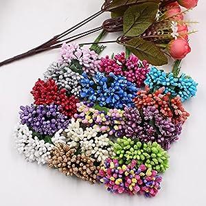Artificial Flower Roses Wedding Festival Home Decorative DIY Wreath Scissors Crafts Fake Flower Pearles Berries Artificial Stamens Flowers 60PCS 66