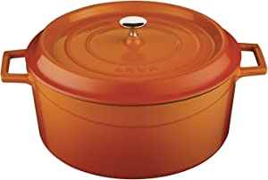 Lava Signature Enameled Cast-Iron Round Dutch Oven - 7 Quart, Orange Spice
