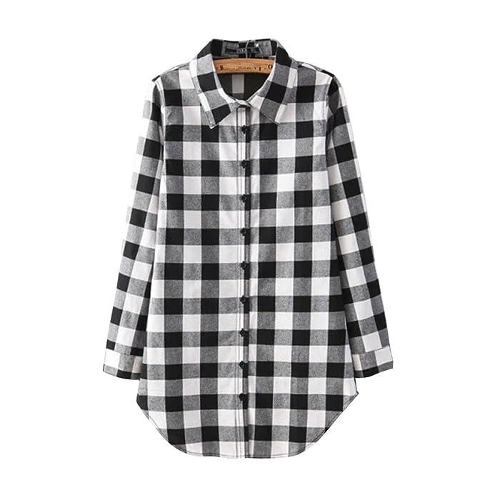 238c6c3c62 Mujer Camisas A Cuadros Blusa De Manga Larga Casual Camisetas  Amazon.es   Ropa y accesorios