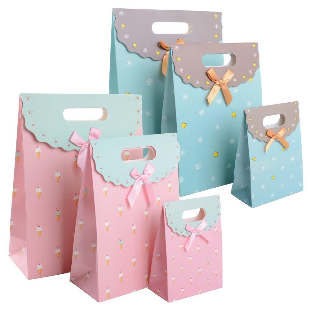 6 pz Sacchetti Regalo Borse di Carta con Manici Velcro Buste per Alimenti Cibo Dolci Caramella Biscotti Gioielli Paper Bags in 2 colori 3 Diversi Dimensioni