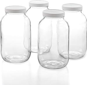 1790 Half Gallon Glass Jars (64oz) 4-Pack - Includes 4 Airtight Lids, Muslin Cloths, Rubber Bands - BPA Free, Dishwasher & Freezer Safe - Perfect for Kombucha, Kefir, Canning, Sun Tea, Fermentation