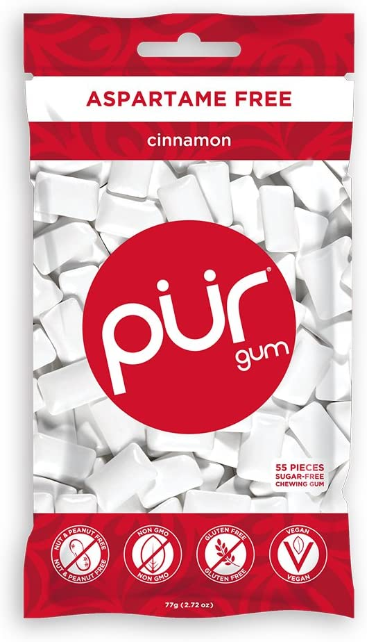 PUR 100% Xylitol Chewing Gum, Sugarless Cinnamon