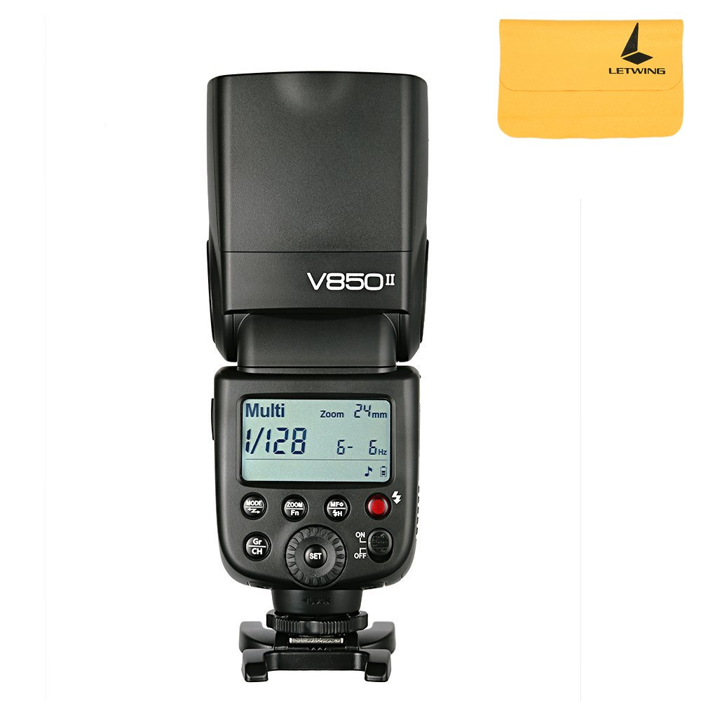 Godox Ving V850II GN60 2.4G 1/8000s HSS Camera Flash Speedlight with 2000mAh Li-ion Battery Features 1.5s recycle time and 650 Full Power Pops for Canon Nikon Pentax Olympas