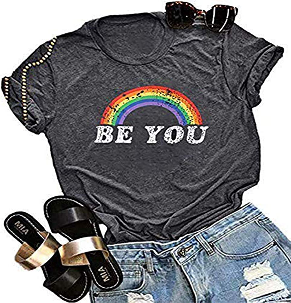 JELLYKIDS Be You Gay Pride T Shirt LGBT Rainbow Tees for Women Casual Letter Print Lesbian Tee Tops