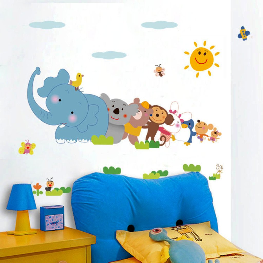 buy decals design jungle cartoon cute animals wall sticker pvc buy decals design jungle cartoon cute animals wall sticker pvc vinyl 60 cm x 90 cm online at low prices in india amazon in