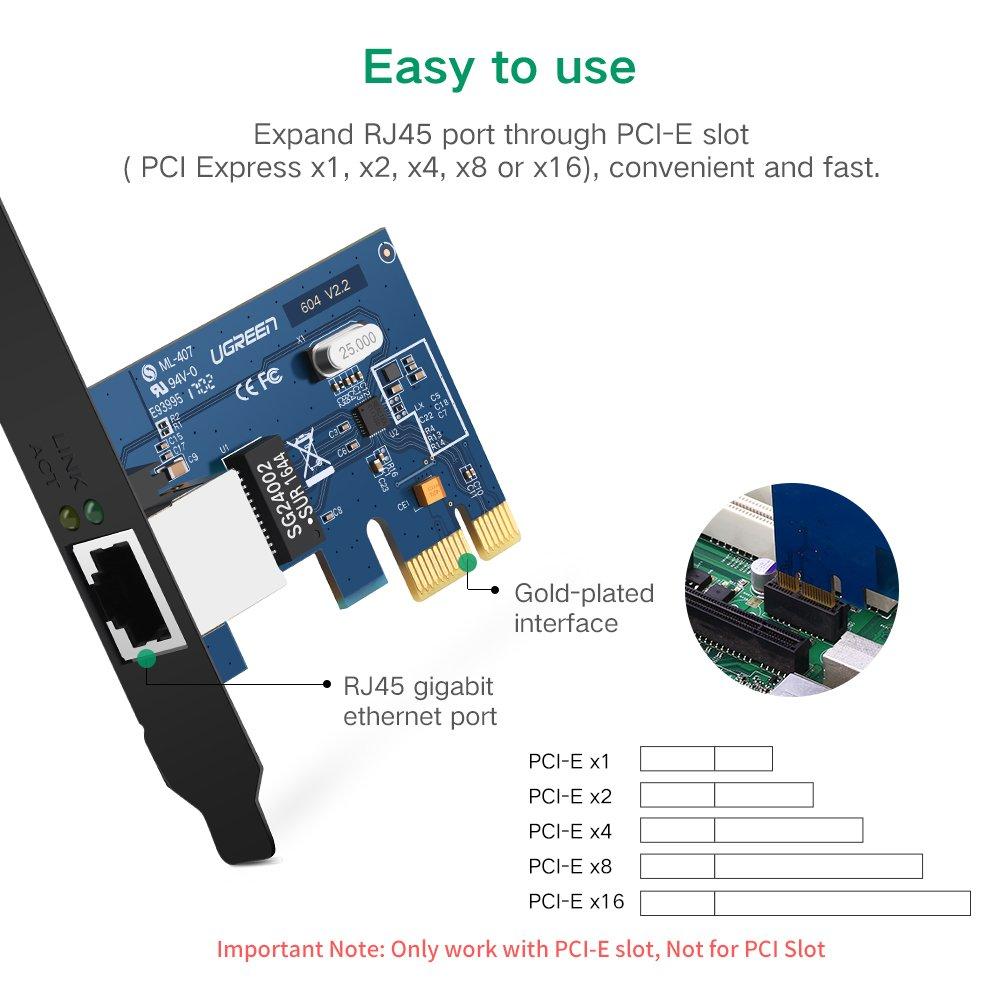 UGREEN Gigabit Ethernet PCI Express PCI-E Network Controller Card 10/100/1000Mbps RJ45 Lan Adapter Converter for Desktop PC by UGREEN (Image #4)
