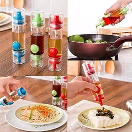 SEVENDAYS® 2 in 1 Cooking Herbs Spice Oil Soy Sauce Vinegar Dispenser Sprayer, 2 in 1 Silicone Honey Oil Spray Bottle, Basting Barbeque Baking Tool, 2 Way Kitchen Bottles and Tools (Multicolour)