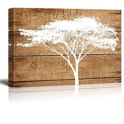 Artistic Abstract Acacia Tree on Vintage Wood Background, That's 100% USA Made, Grand Portrait