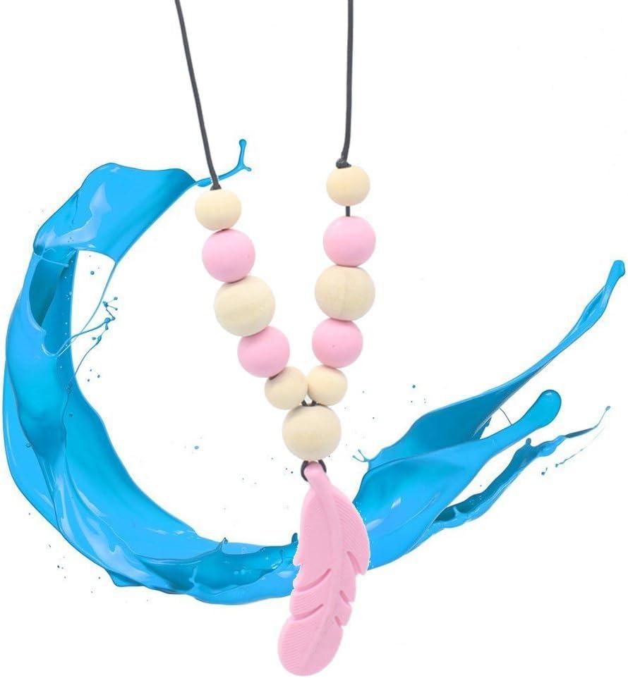 rose SUPVOX Silicone plume dentition collier pendentif pour b/éb/é et allaitement maman b/éb/é doux sensoriel jouets de dentition /à croquer