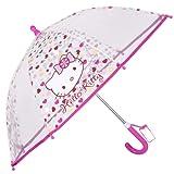 Regenschirm Hello Kitty - Kinderschirm mit transparenter Kuppel, robust, windfest - Sicher Kinderregenschirm mit abgerundeten , blockierten Spitzen - manuelle Sicherheitsöffnung - Perletti