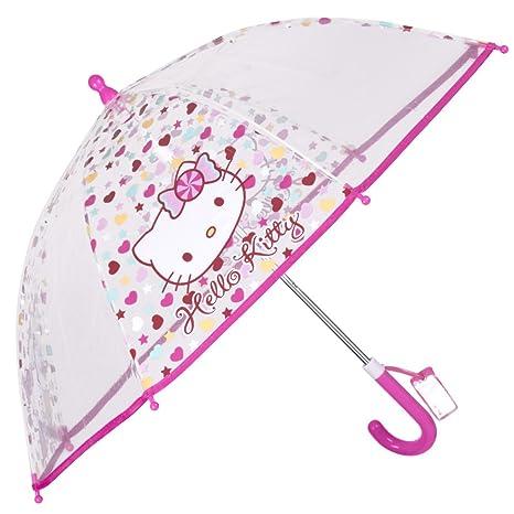 Paraguas Hello Kitty Transparente para niña – Paraguas Largo de cúpula Perletti para niña – PoE