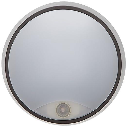Tibelec 342220 - ojo de buey LED redondo con detector de movimiento, plástico, 10 W, Negro, 80 x diámetro 215 mm: Amazon.es: Iluminación