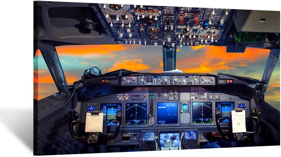 Kreative Arts Canvas Prints Wall Art Airplane Cockpit Flight Deck in Sunset Photo Art Print Plane Poster Modern Home Decor Stretched and Framed Ready to Hang for Office Decorations 20x36inch