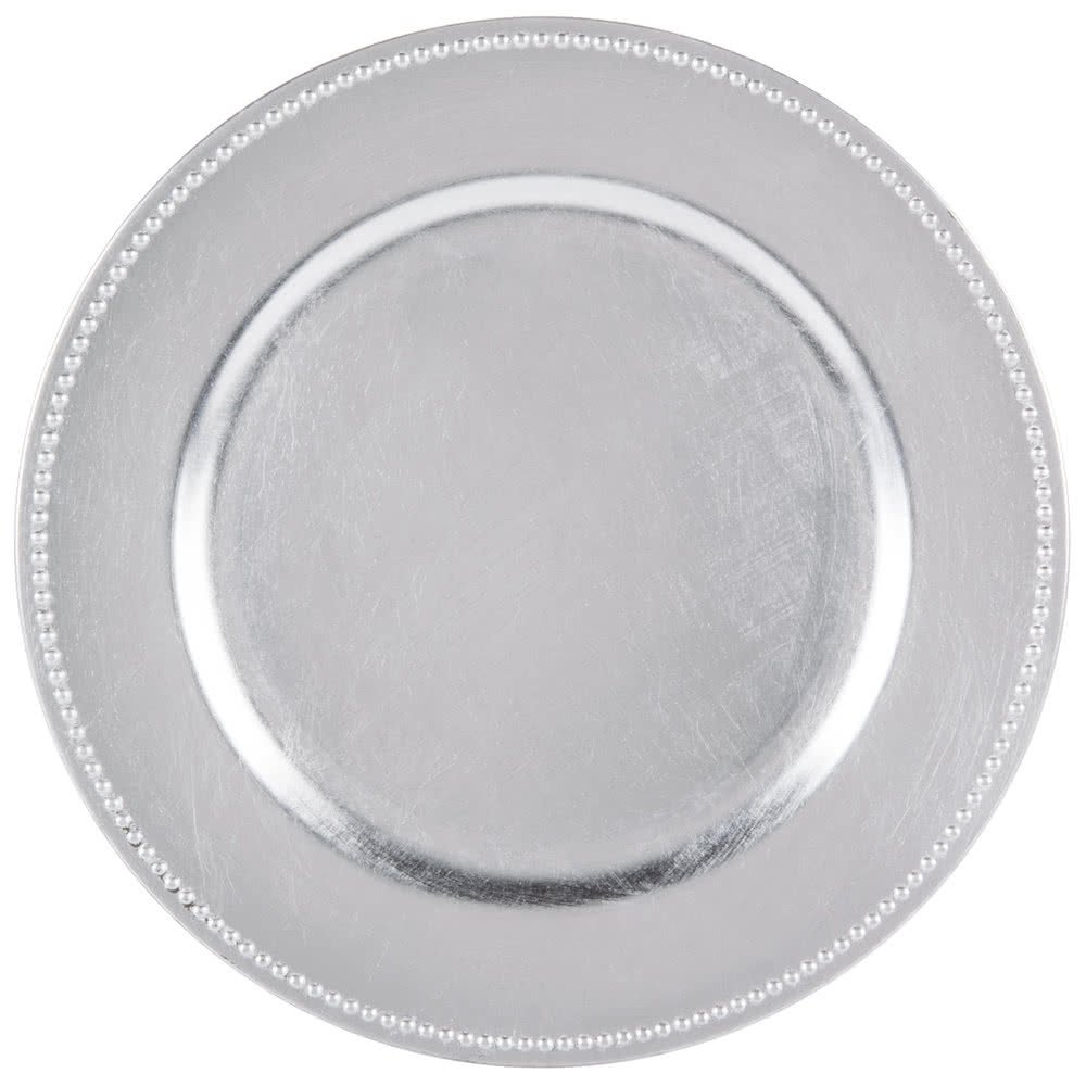 SPRINGROSE Silver Charger Plates (set of 10) | Buy in Bulk | The Perfect Decoration for Yoru Tables | Perfect for a Wedding, Party, Banquet, Anniversary Dinner, Christmas, Barbeque, Bridal Shower All in One Weddings SCP