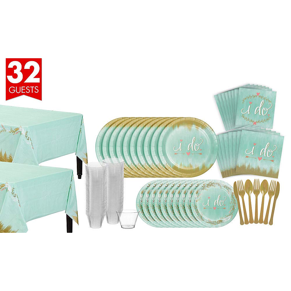 ELEGANI Mint To Be Bridal Shower Tableware Kit for 32 Guests Wedding Theme