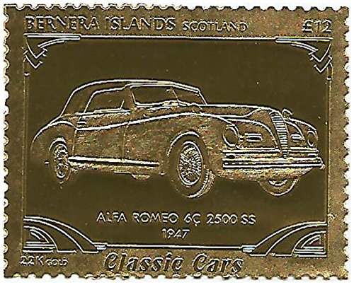 Unmounted Mint / Perforated / Twelve pounds face value Classic Car series stamp embossed in 22 carat gold foil featuring 1947 Alfa Romeo 6C 2500 SS / Perfect for Collectors / Bernera / 1996