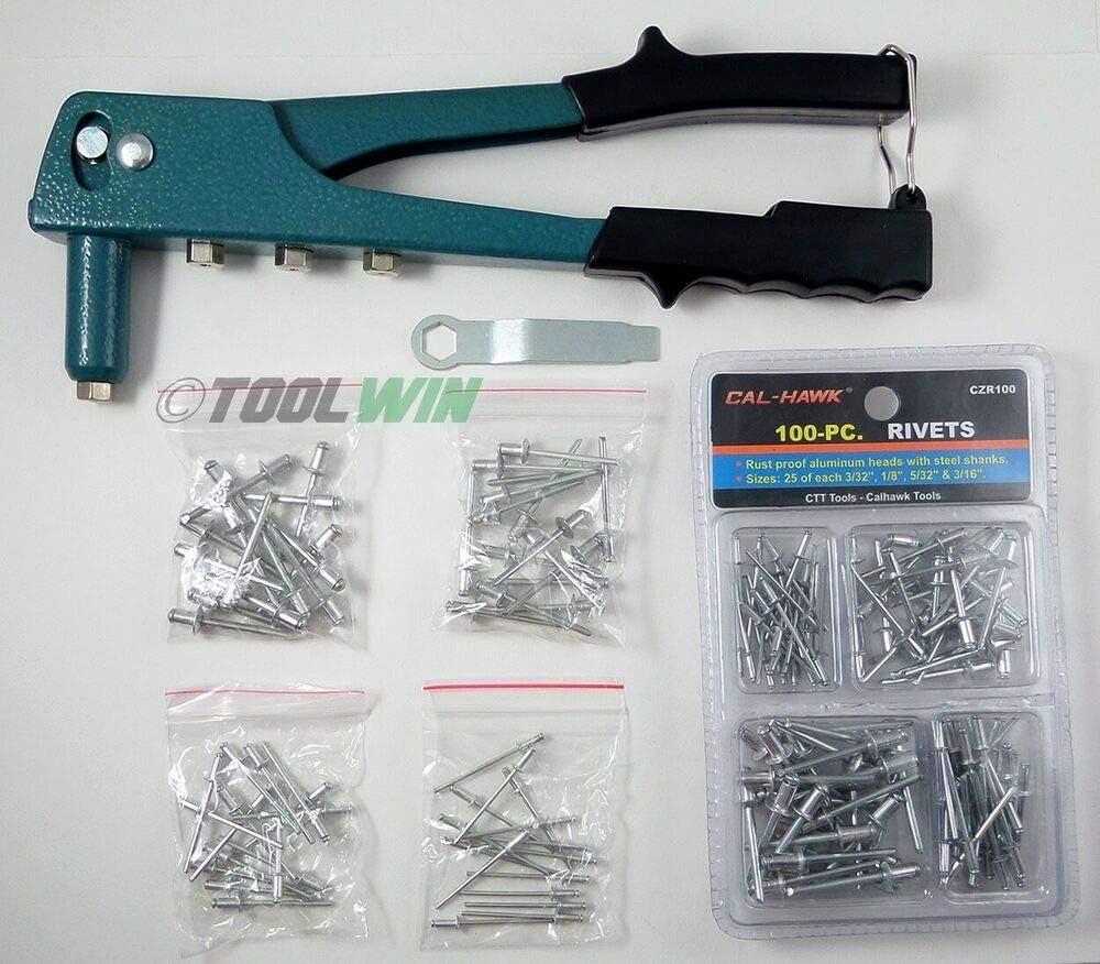 Pop Riveter Gun Kit Blind Rivet Hand Tool Set Gutter Repair Heavy Duty Hand Tool
