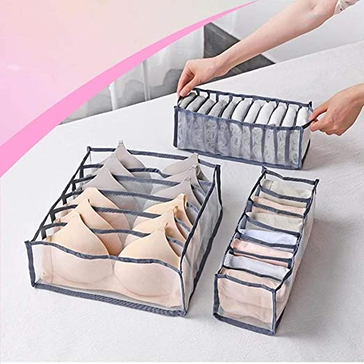3PCS Storage Drawer Organiser Storage Box Socks Bra Ties Draw Divider Useful NEW