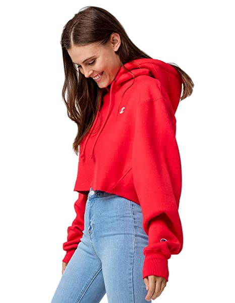 good quality amazon Discover CHAMPION Reverse Weave Cropped Raw Hem Small C Logo Hoodie Sweatshirt