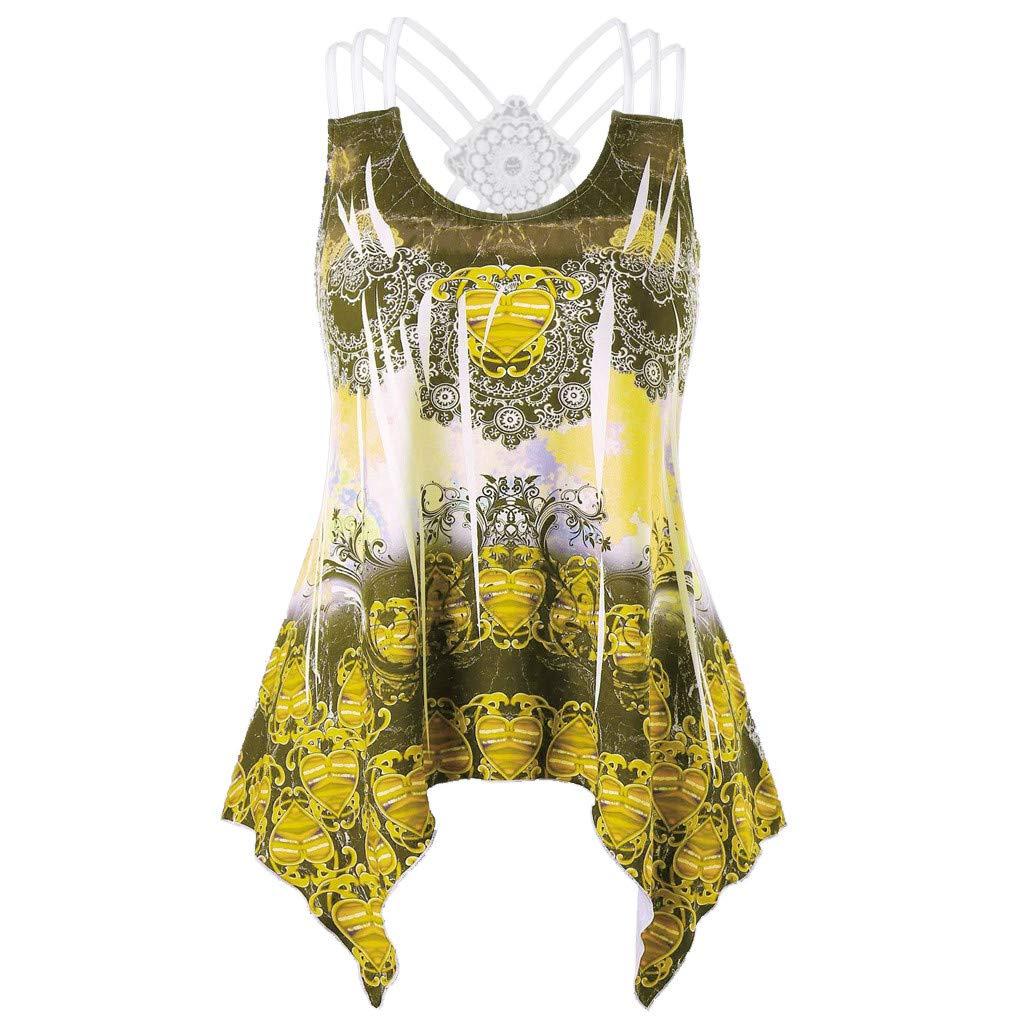 Libermall Women's Tank Tops Summer Cross Strappy Floral Printed Irregular Vest Sleeveless Shirts Blouse Tops Yellow