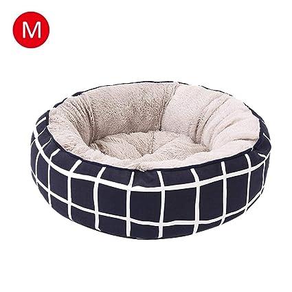 Pet Dogs - Cama redonda de terciopelo cálido para mascotas con forro polar lavable para mascotas