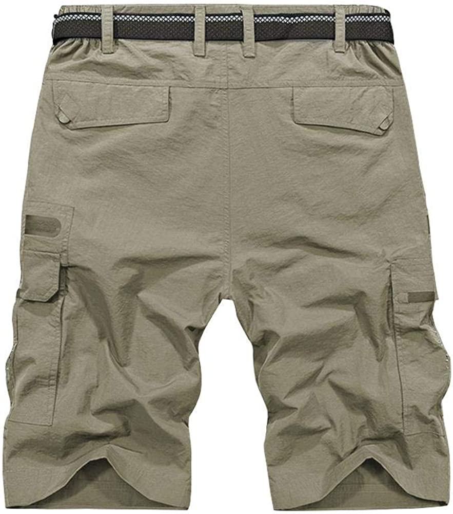 Mens Outdoor Tactical Shorts Lightweight Expandable Waist Cargo Shorts with Multi Pockets Quick Dry Water Resistant #6222