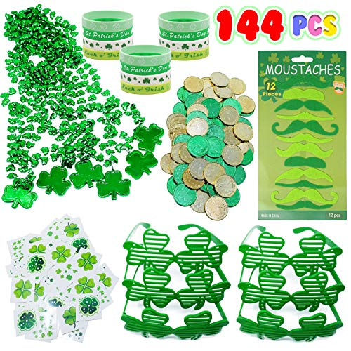 Lil Toys 144 Pcs St. Patricks Day Party Favor Set Saint Patricks Day Irish Accessories Shamrock Party Favors include Shamrock Glasses, Necklaces, Mustaches, Rubber Bracelets, Tattoos, Coins