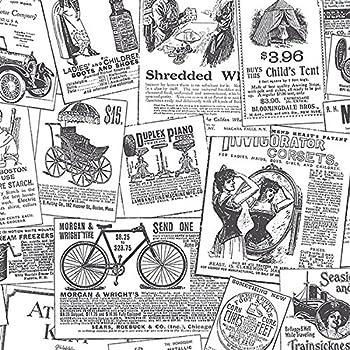 Chesapeake Ctr Adamstown Cream Vintage Newspaper Wallpaper